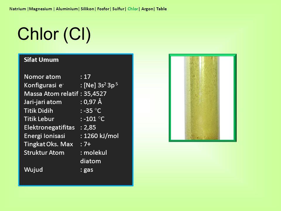 Chlor (Cl) Sifat Umum Nomor atom : 17 Konfigurasi e- : [Ne] 3s2 3p 5